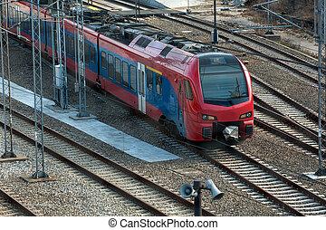 Train locomotive on the railway
