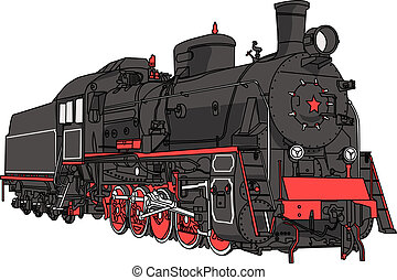 Big black locomotive with a pipe isolated on white background