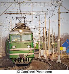 train,  long, fret, Coucher soleil