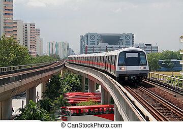 train, métro, jeûne, approchant