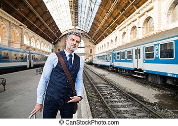 train, mûrir, homme affaires, station.