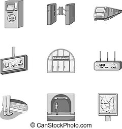 Train, means, movement and other web icon in monochrome...