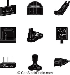 Train, means, movement and other web icon in black...
