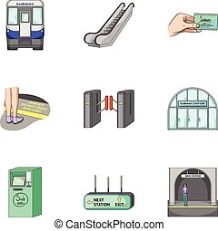 Train, means, movement and other web icon in cartoon...