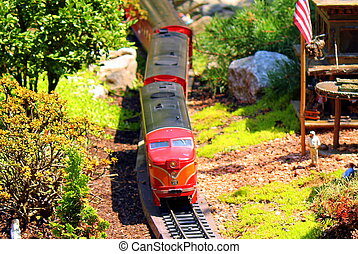 train modèle, jardin