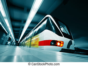Train - Motion blurred rapid train on station