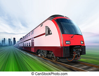 train moves from city - super streamlined train with motion...