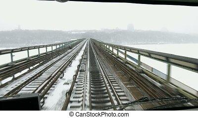 Train moves on the bridge across the river.