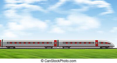 Train moving forward on rail-tracks on nature background