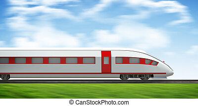 Train moving forward on rail-tracks, side view - Train...