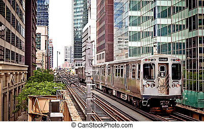 Train moving on the tracks in Chicago - Train moving on the...