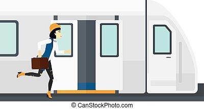 train., mulher, ausente