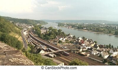 Train near by a river (Rhine)