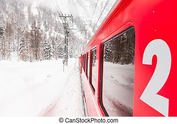 train, neige