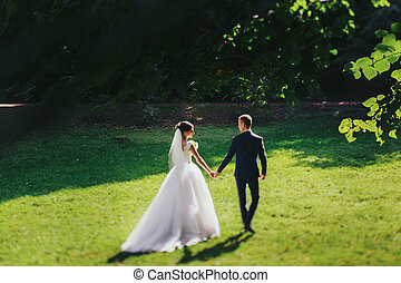 Train of a dress lies on the green lawn while bride holds groom's hand