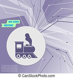 Train old classic steam engine locomotive icon on purple abstract modern background. The lines in all directions. With room for your advertising. Vector