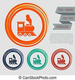 Train old classic steam engine locomotive icon on the red, blue, green, orange buttons for your website and design with space text. Vector