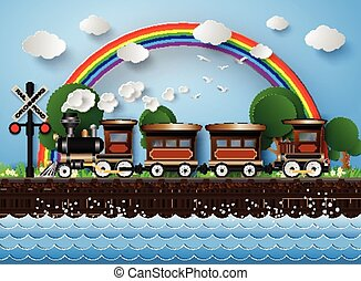 train on a background of rainbow.