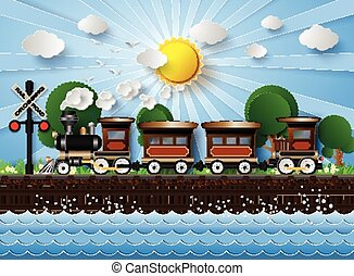 train on a background of sunshine. paper cut style.
