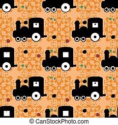 train on an orange background of beautiful seamless vector pattern