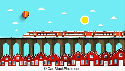 Train on Bridge. Abstract VEctor Landscape. City with Houses.