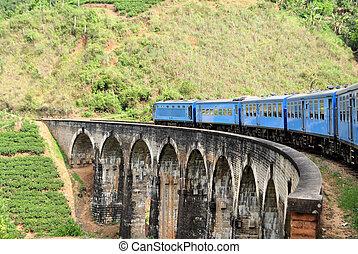 Train on bridge in hill country of Sri Lanka