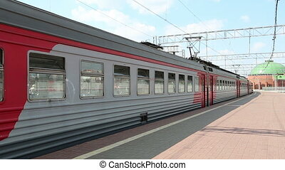Train on Leningradsky railway station and passengers-- is...
