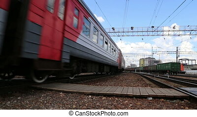 Train on Moscow passenger platform