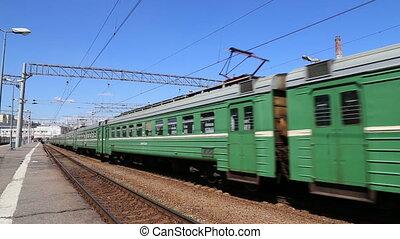 Train on Moscow passenger platform (Kursky railway...
