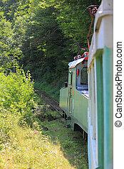train on narrow-gage railroad between Borjomi and Bakuriani,...