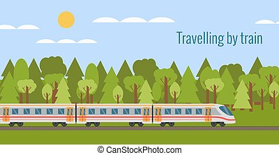 Train on railway with forest landscape in flat style.
