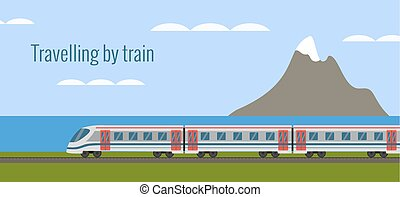 Train on railway with sea landscape in flat style.