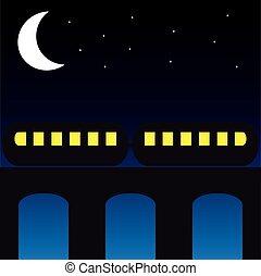 Train on the bridge at night