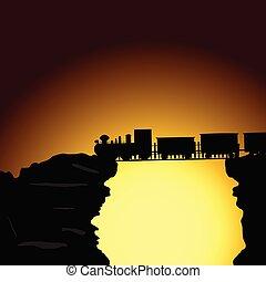 train on the bridge on the cliff vector illustration
