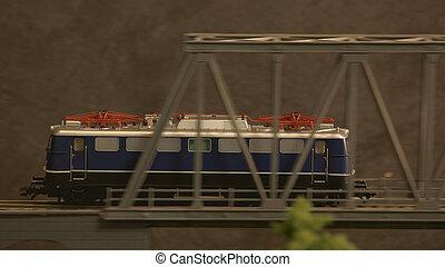 Train on the bridge.