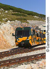 Train on the mountain railway in Schneeberg.