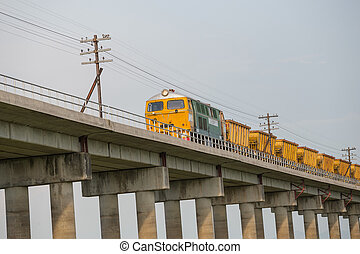 Train on the railway bridge
