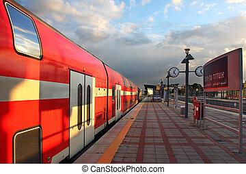 Train on the train station. - Train on the train station a...