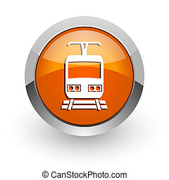 train orange glossy web icon