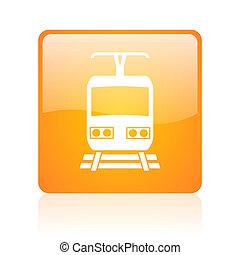train orange square glossy web icon