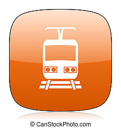 train orange square web design glossy icon