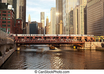 Train over the Chicago River