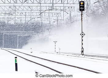 train passager, neige