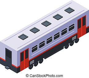 Train passenger wagon icon, isometric style