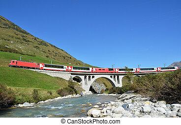 Train passing a bridge. Switzerland