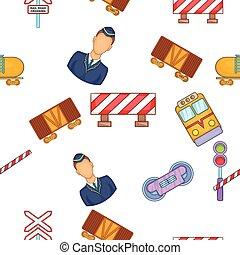 Train pattern, cartoon style