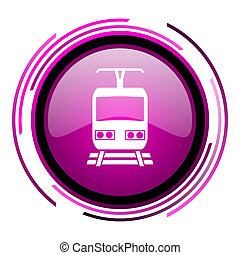 Train pink glossy web icon isolated on white background