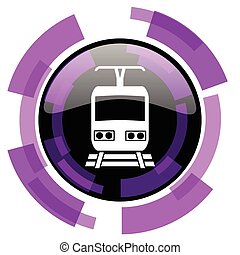 Train pink violet modern design vector web and smartphone icon. Round button in eps 10 isolated on white background.