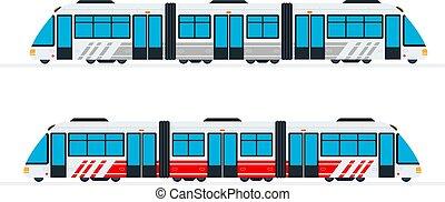 train, plat, interurbain, passager, isolé, vecteur