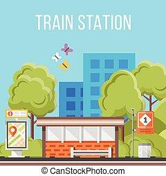 train, plat, station., vecteur, concept